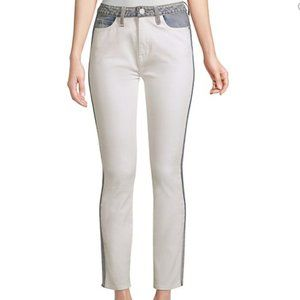 Joie Gracelyn Two Tone Skinny White Ankle Jeans